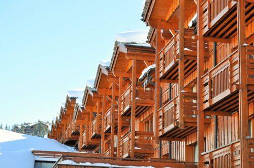 wooden chalet in a ski resort